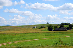 Farm land. With a truck drove through in Lithuania Royalty Free Stock Photos
