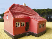 Farm land house. In a blur background Royalty Free Stock Photography