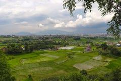 Farm land and Kathmandu city royalty free stock image