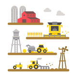 Farm land machineries flat design  Stock Image