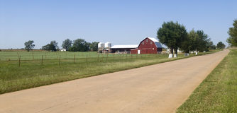 Farm land in Oklahoma. Farmland along Historic Route 66 in the state of Oklahoma Royalty Free Stock Photos