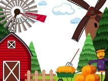 Farm land scape scene vector illustration
