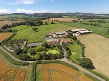 Farm land in Somerset. Aerial view of a scenic Somerset landscape Royalty Free Stock Photos