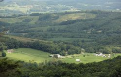 Farm Lands. A Scenic panorama of Farm lands along the Blue Ridge Parkway in South Carolina, USA stock image