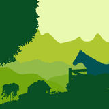 Farm landscape. Landscape with a farm in green tones Stock Photos