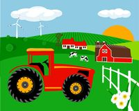 Farm landscape. Abstract farm landscape vector illustration Royalty Free Stock Photo