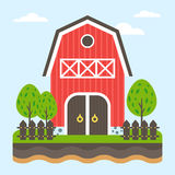 Farm landscape. The barn in front view surrounded by trees. Ground cut. Stock Photos