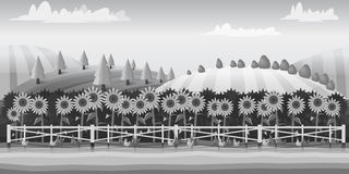 Farm landscape , black and white illustration for you project stock illustration