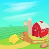 Farm landscape concept, cartoon style Stock Image