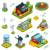 Farm Landscape Elements Set. Farm rural buildings isometric elements set with built structures and single isolated storage and cloud icons vector illustration Stock Photo