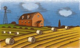 Farm landscape. Engraved Color Vector Illustration. Stock Photos