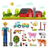 Farm landscape, farm animals and utensils Stock Images