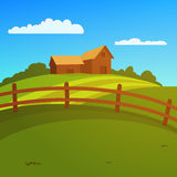 Farm Landscape. Landscape with farm and fence, vector illustration Stock Image
