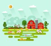 Farm landscape. Flat design vector rural landscape illustration with farm building, barn, garden, beds of carrots, tomatoes, pumpkin, cows, ducks, chickens Stock Image