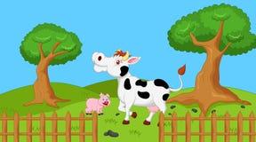 Farm landscape. Illustration of farm landscape cartoon Royalty Free Stock Image
