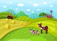 Farm landscape illustration with cows Stock Photo