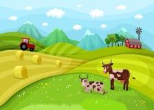 Farm landscape illustration with cows Stock Photo
