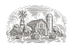Farm landscape illustration. Rustic scene. Vector. stock illustration