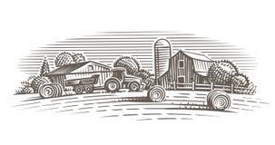 Farm landscape illustration. Vector. Hand drawn. Illustration of farm, rural landscape. Vector. Hand drawn. Engraving style vector illustration