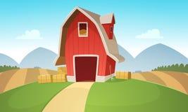 Farm Landscape. Mountain countryside landscape with red farm barn, cartoon vector illustration Royalty Free Stock Photos