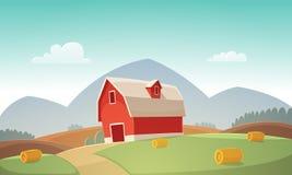 Farm Landscape. Mountain countryside landscape with red farm barn, cartoon vector illustration Stock Photo