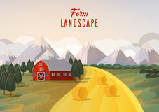 Farm landscape panorama with hay wheat field and mountain Stock Photo