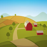 Farm Landscape. Rural summer landscape with red farm barn, cartoon vector illustration Royalty Free Stock Photo