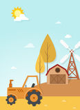 Farm landscape scene vector Stock Photo