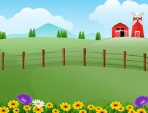 Farm landscape with shed and red windmill on daylight. Illustration of farm landscape with shed and red windmill on daylight stock illustration