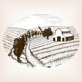 Farm landscape sketch style vector Stock Photo