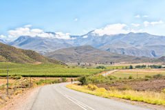 Farm landscape with the Swartberg in the back near Hoeko stock photo