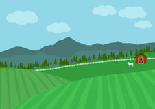 Farm landscape vector background,nature landscape. Countryside Farm, Vector illustration,Beautiful landscape, green and  meadow with a  cows in the distance Royalty Free Stock Photo