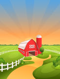 Farm landscape vector illustration. Bright and sunny rural background with barn, fields, pastures, meadows stock illustration
