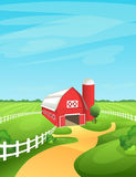 Farm landscape vector illustration. Bright and sunny rural background with barn, fields, pastures, meadows Stock Photos