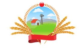 Farm landscape with wheat spikes circle round logo vector design for package design. Farm landscape with wheat spikes circle round logo design for package Royalty Free Stock Photography