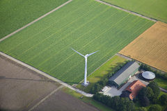 Farm landscape with windmill from above Stock Photography