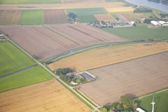 Farm landscape with windmill from above, Royalty Free Stock Photos