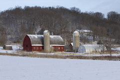 A Farm Landscape in Winter Stock Images