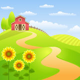 Farm landscapes with red barn and sunflowers Royalty Free Stock Images