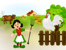 Farm life. Funny illustration with farm animals, barn, mill, haycocks and a girl with fork in her hand Royalty Free Stock Images