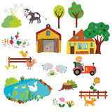 Farm life design elements set - funny design. Graphic illustration Stock Photography