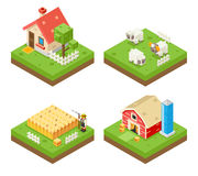 Farm Life isometric 3d Icon Real Estate Symbol. Meadow Background Flat Vector Illustration Stock Images