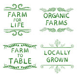 FARM FOR LIFE, ORGANIC FARMS, FARM TO TABLE, LOCALLY GROWN. Hand drawn typographic elements isolated on white. Green. Lines. Farming icons Royalty Free Stock Photo