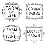 FARM FOR LIFE, ORGANIC FARMS, FARM TO TABLE, LOCALLY GROWN. Hand-drawn typographic elements  on white. Black. Frames. Farming icons on white background Stock Photography