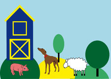 Farm life. With the pig, the dog and the sheep vector illustration