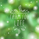 Farm for life - product label on blurred Royalty Free Stock Photos
