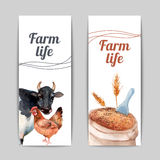 Farm life vertical flat banners set Stock Photo