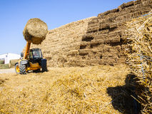 Farm lifting tractor straw bale Stock Photos