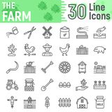 Farm line icon set, farming symbols collection. Vector sketches, logo illustrations, agriculture signs linear pictograms package isolated on white background Royalty Free Stock Photos