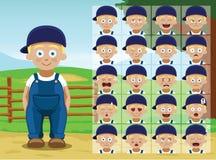 Farm Little Boy Cartoon Emotion faces Vector Illustration Royalty Free Stock Image